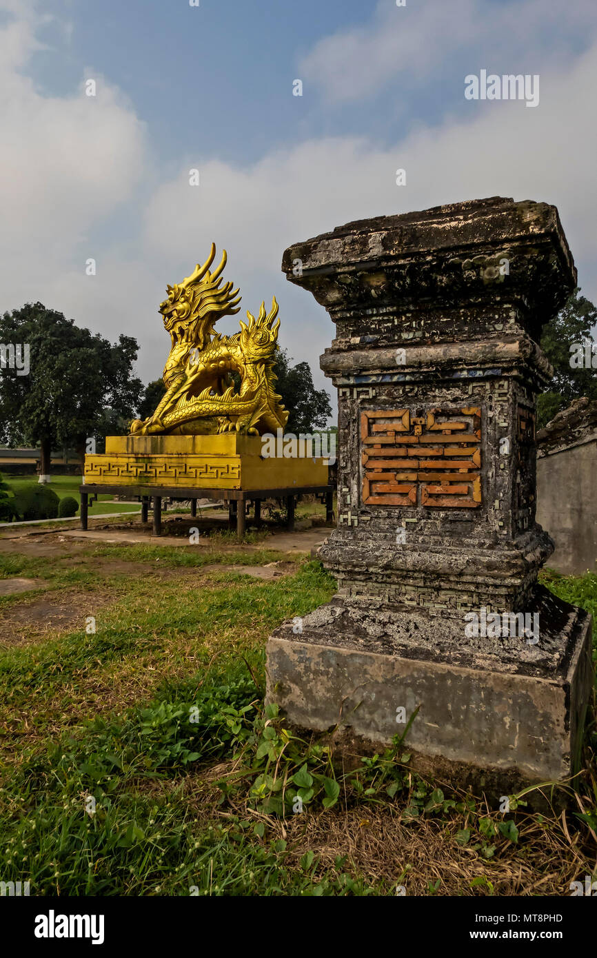 Golden Dragon inside the historic Imperial City of Hue, Vietnam - Stock Image