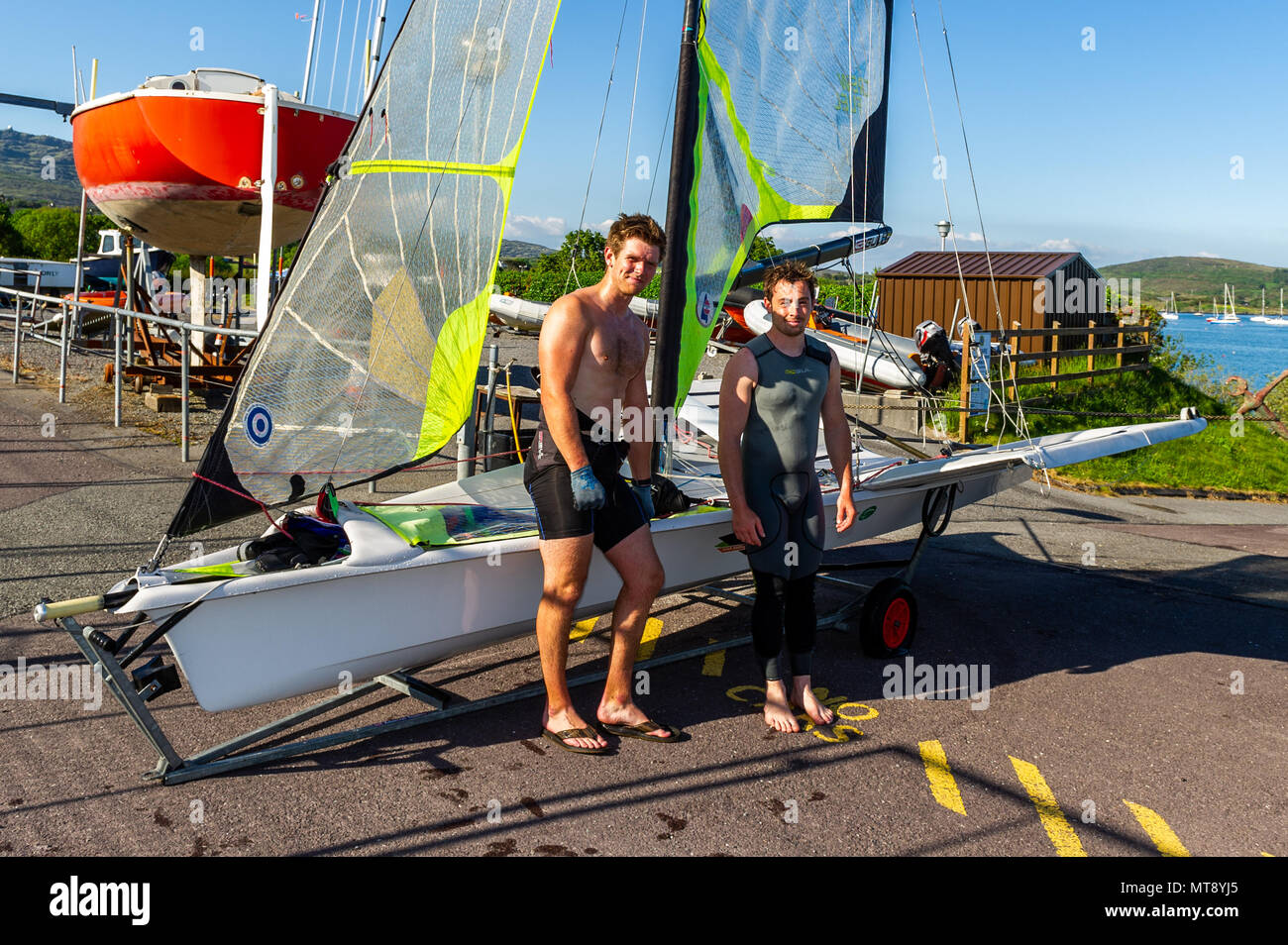 Schull, Ireland. 28th May, 2018.  Tokyo 2020 Olympic hopefuls Oisín O'Driscoll and Mark Hassett trained in their 49er in Schull on a blisteringly hot day in Schull. Met Éireann has forecast a warm evening with hazy sunshine and the odd shower with lows of 10 to 14 C. Credit: Andy Gibson/Alamy Live News. - Stock Image