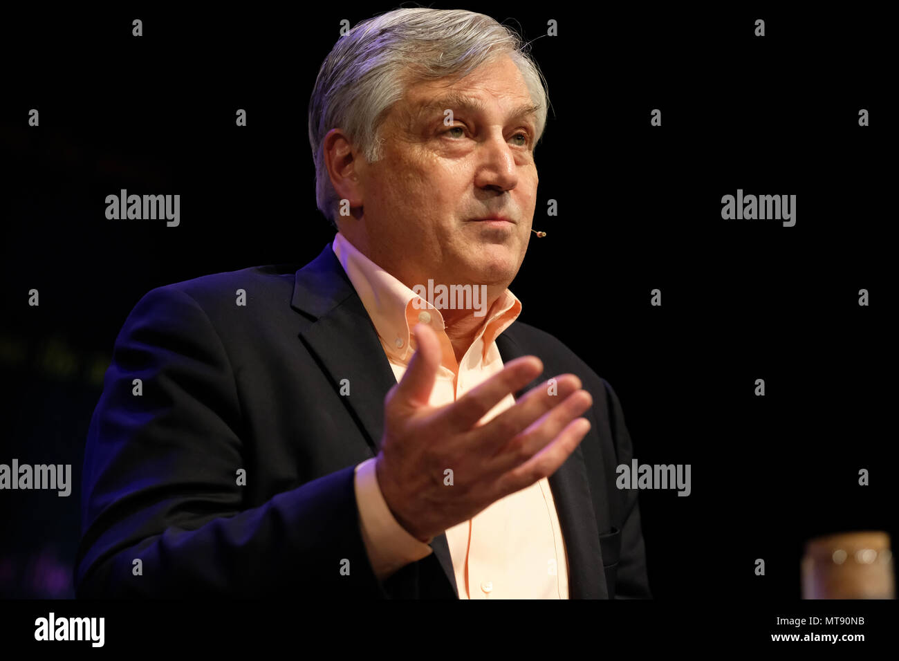 Hay Festival, Hay on Wye, UK - Monday 28th May 2018 - Dr Jonathan D Quick  on the stage at the Hay Festival talking about combating epidemics across the globe - Photo Steven May / Alamy Live News - Stock Image