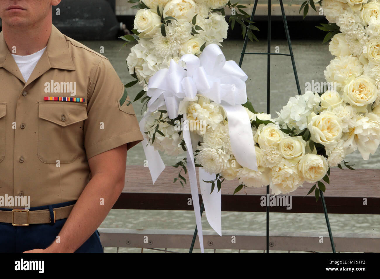 New York, NY, USA. 28th May, 2018. A.U.S Marine attends the 2018 Memorial Day Ceremony held aboard the U.S.S Intrepid Sea, Air, Space Museum Complex on May 28, 2018 in New York City. Credit: Mpi43/Media Punch/Alamy Live News - Stock Image