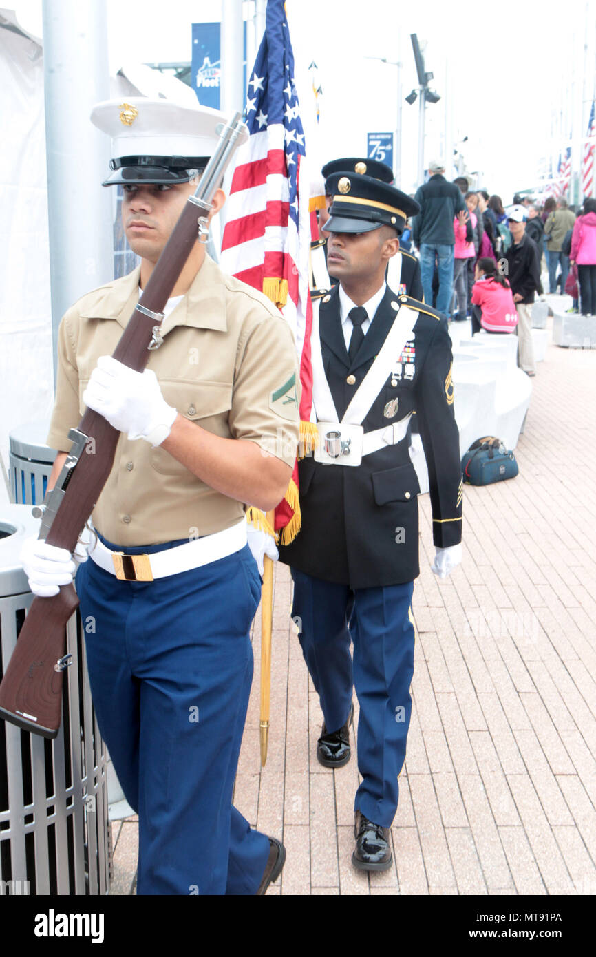 New York, NY, USA. 28th May, 2018. U.S. Color Guards attend the 2018 Memorial Day Ceremony held aboard the U.S.S Intrepid Sea, Air, Space Museum Complex on May 28, 2018 in New York City. Credit: Mpi43/Media Punch/Alamy Live News - Stock Image