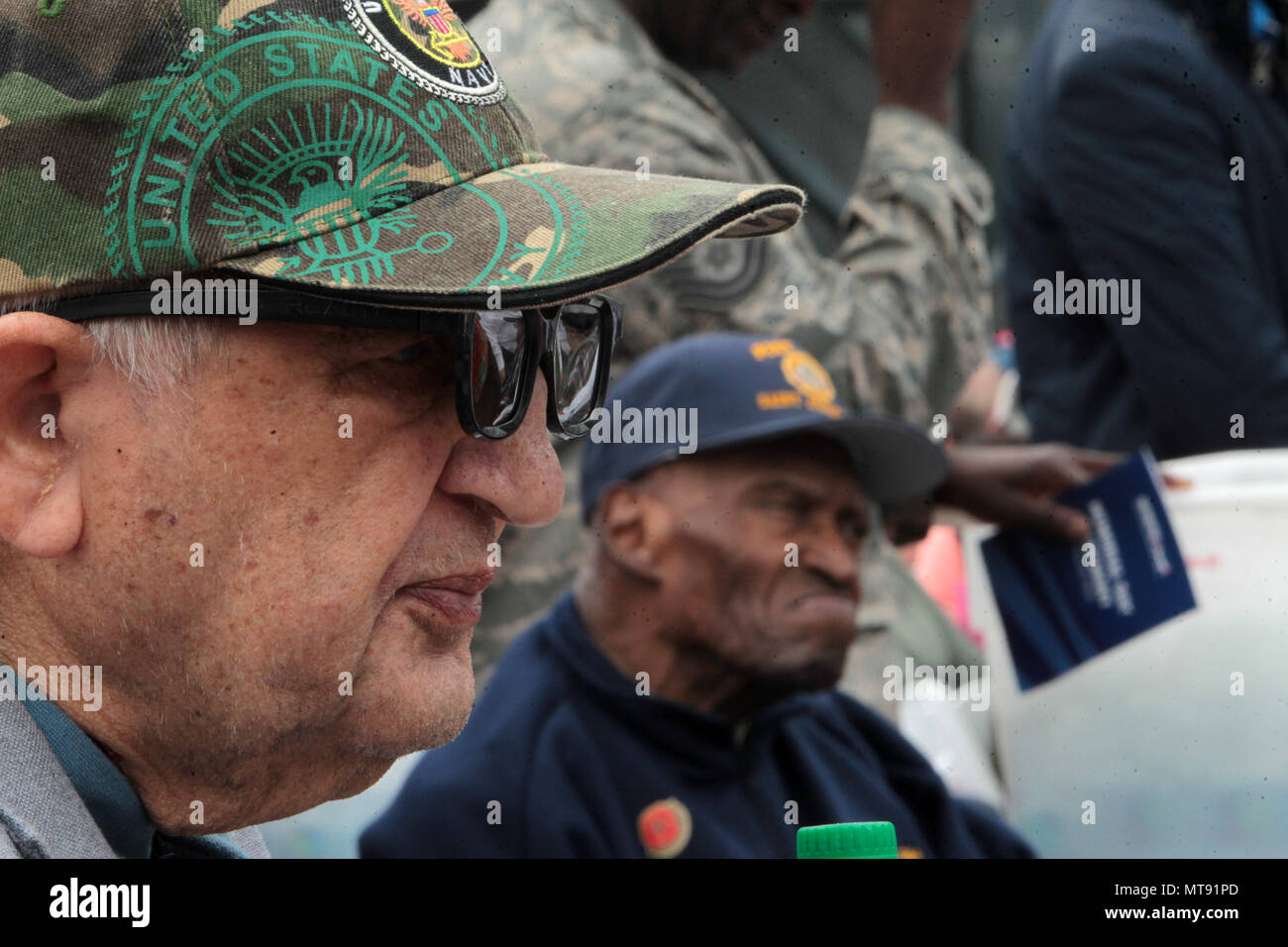 New York, NY, USA. 28th May, 2018. United States War Veterans attend the 2018 Memorial Day Ceremony held aboard the U.S.S Intrepid Sea, Air, Space Museum Complex on May 28, 2018 in New York City. Credit: Mpi43/Media Punch/Alamy Live News - Stock Image