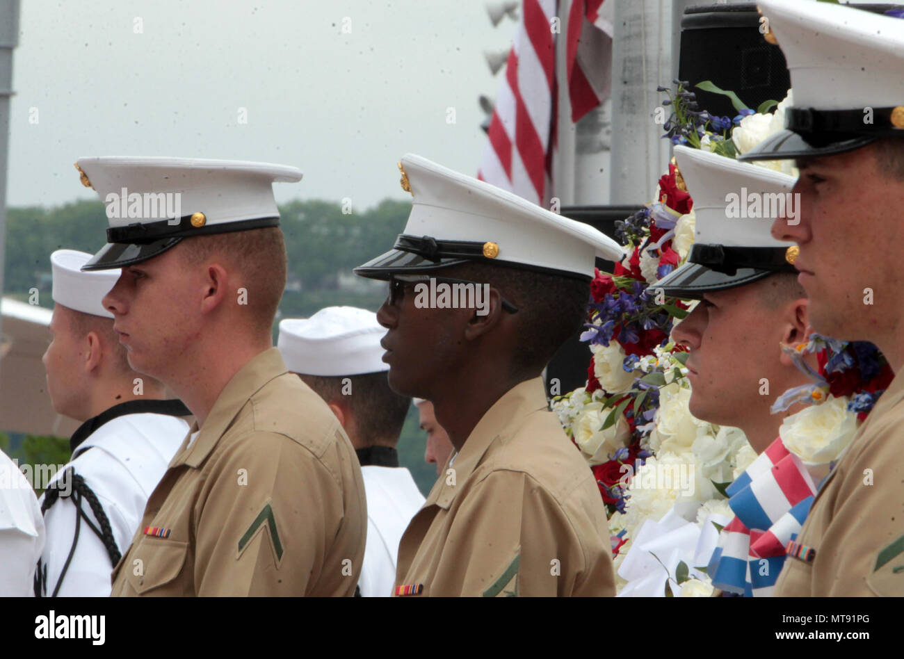 New York, NY, USA. 28th May, 2018. U.S Marines attend the 2018 Memorial Day Ceremony held aboard the U.S.S Intrepid Sea, Air, Space Museum Complex on May 28, 2018 in New York City. Credit: Mpi43/Media Punch/Alamy Live News - Stock Image