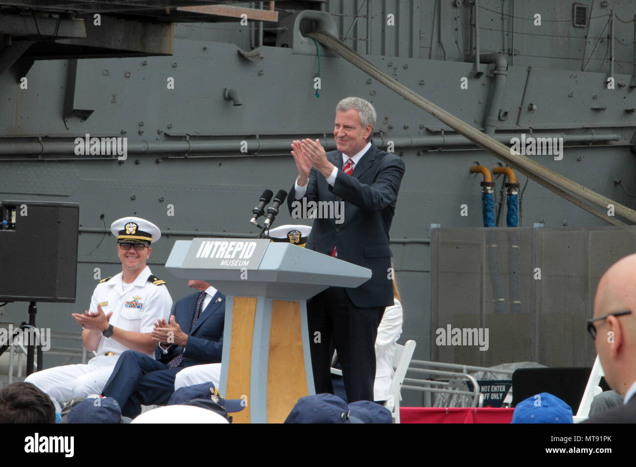 New York, NY, USA. 28th May, 2018. New York City Mayor Bill De Blasio attends the 2018 Memorial Day Ceremony held aboard the U.S.S Intrepid Sea, Air, Space Museum Complex on May 28, 2018 in New York City. Credit: Mpi43/Media Punch/Alamy Live News - Stock Image