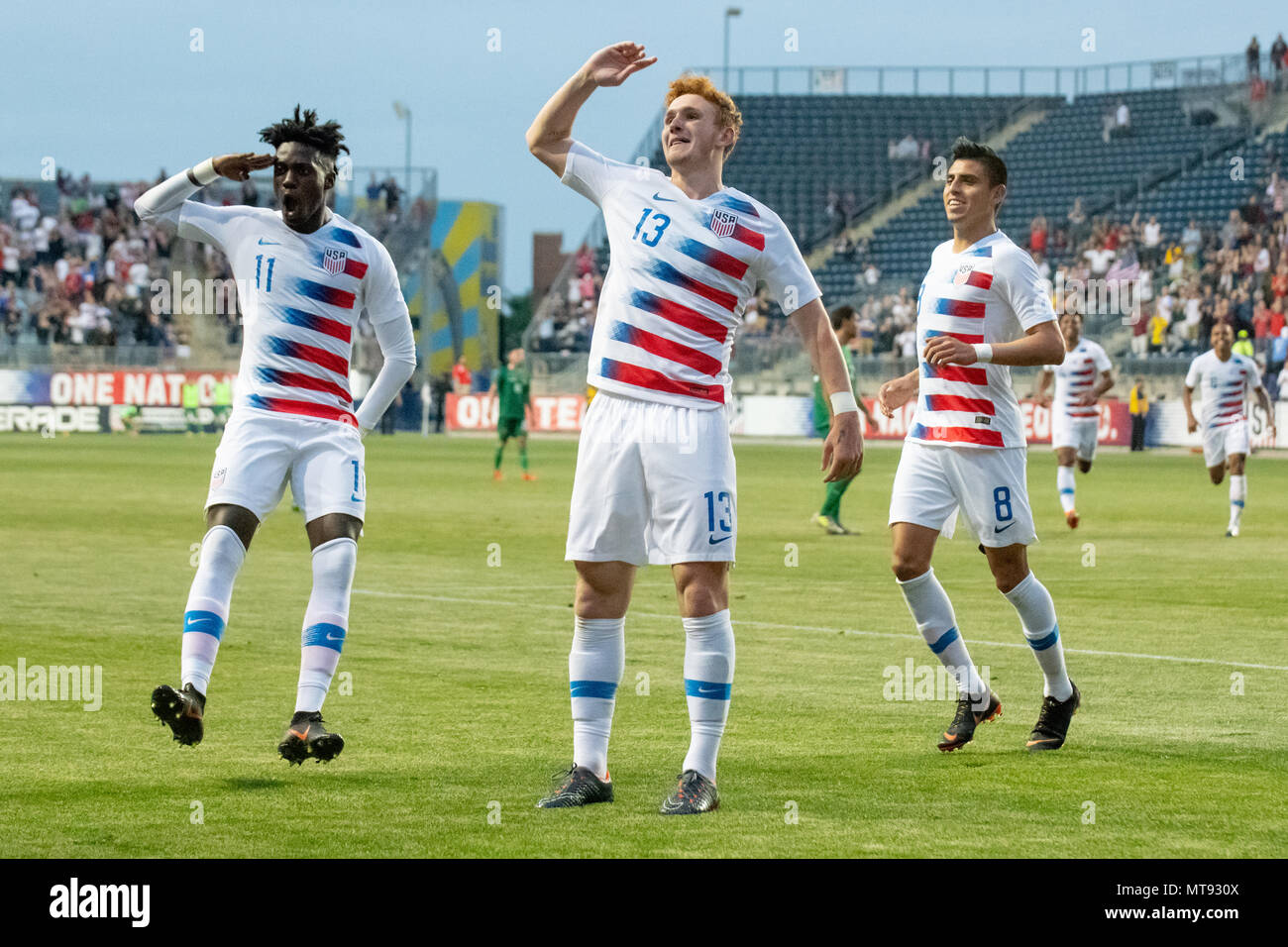 Chester, USA. 28th May 2018. Josh Sargent scores and celebrates his first international football / soccer goal for the United States Mens National Team / USMNT Credit: Don Mennig/Alamy Live News Stock Photo