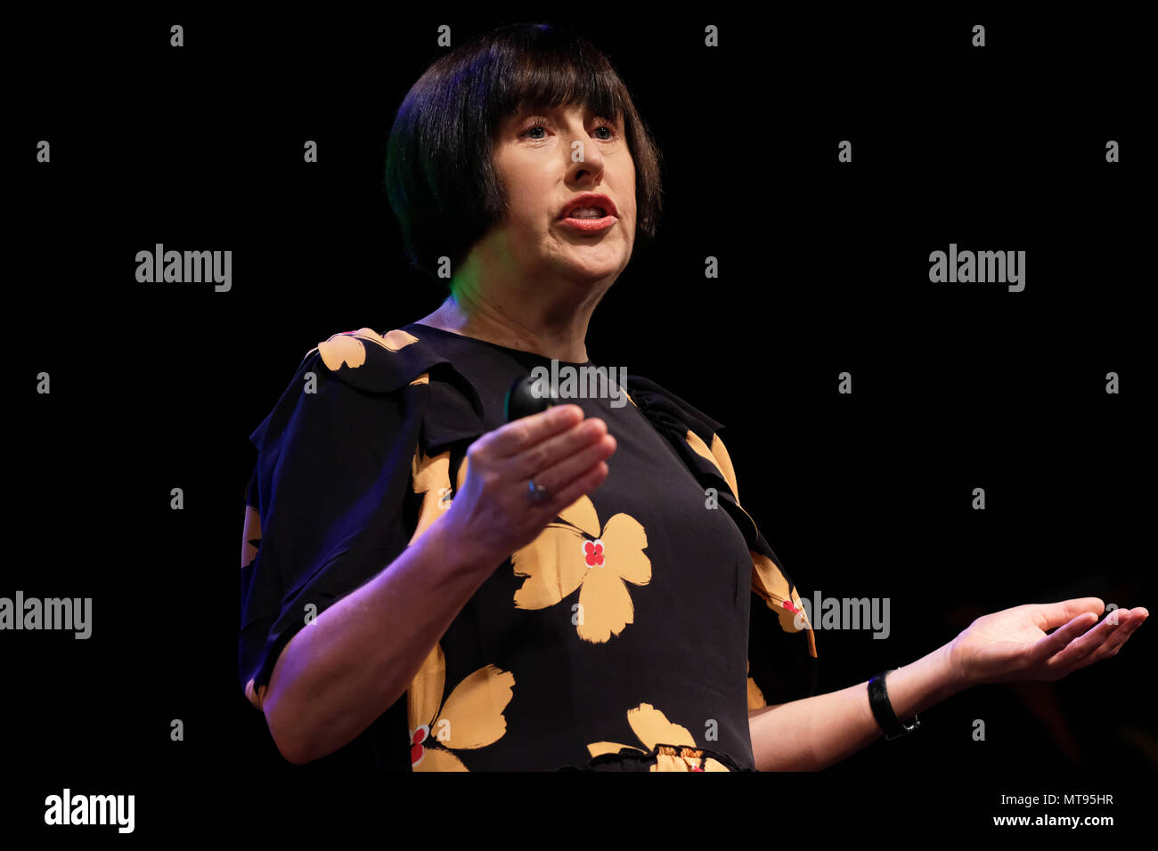 Hay Festival, Hay on Wye, UK - Tuesday 29th May 2018 - Alice Rawsthorn on stage at the Hay Festival talking about her book Design as an Attitude - Photo Steven May / Alamy Live News - Stock Image