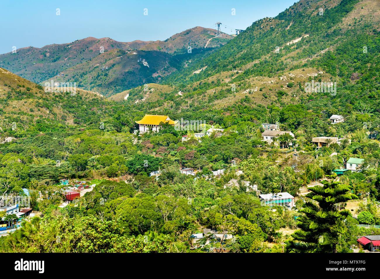 Landscape of Ngong Ping Plateau on Lantau Island in Hong Kong - Stock Image