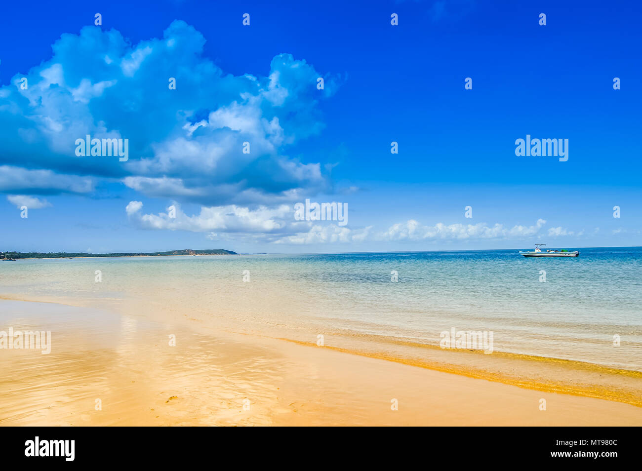 Beautiful and Pristine Portuguese Island beach with turquoise water , Mozambique. Isolated beach with blue green water Stock Photo