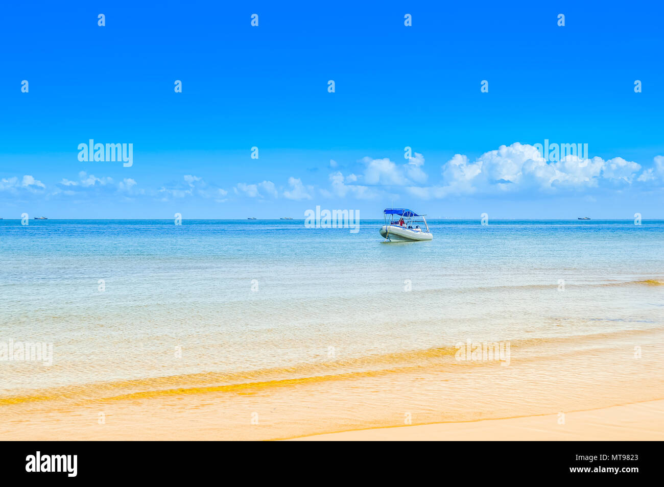 Beautiful and Pristine Portuguese Island beach with turquoise water , Mozambique. Isolated beach with blue green water - Stock Image