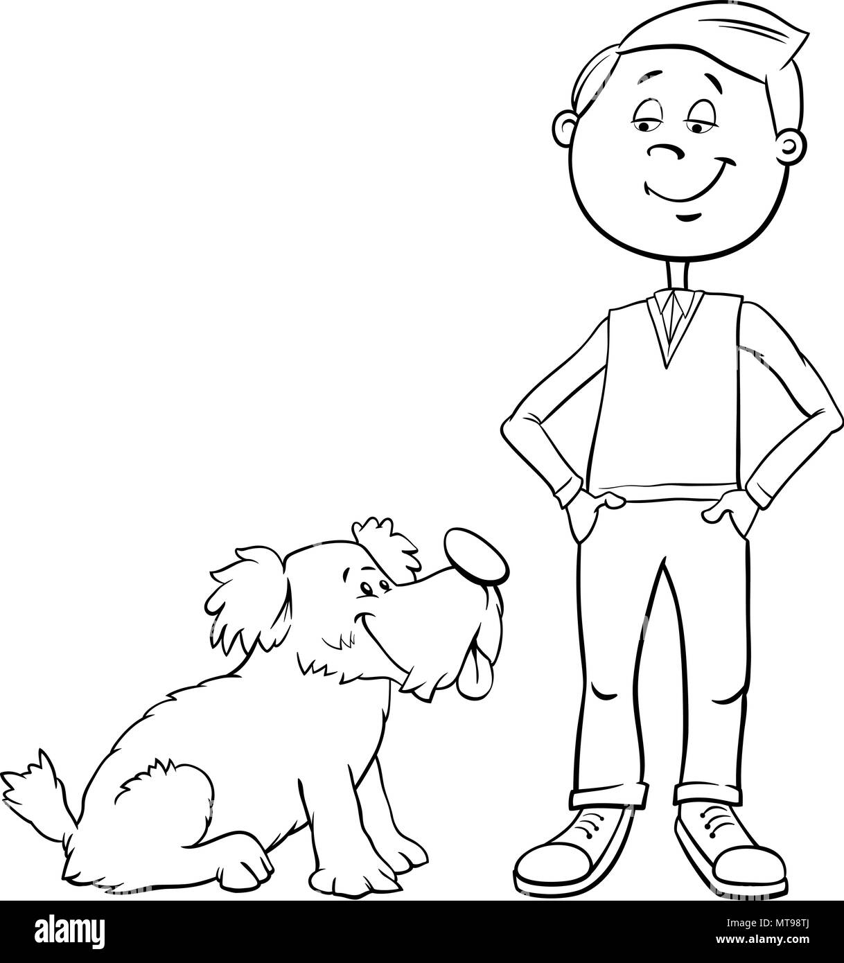 Black And White Cartoon Illustration Of Kid Boy With Cute Dog Or Puppy Coloring Book