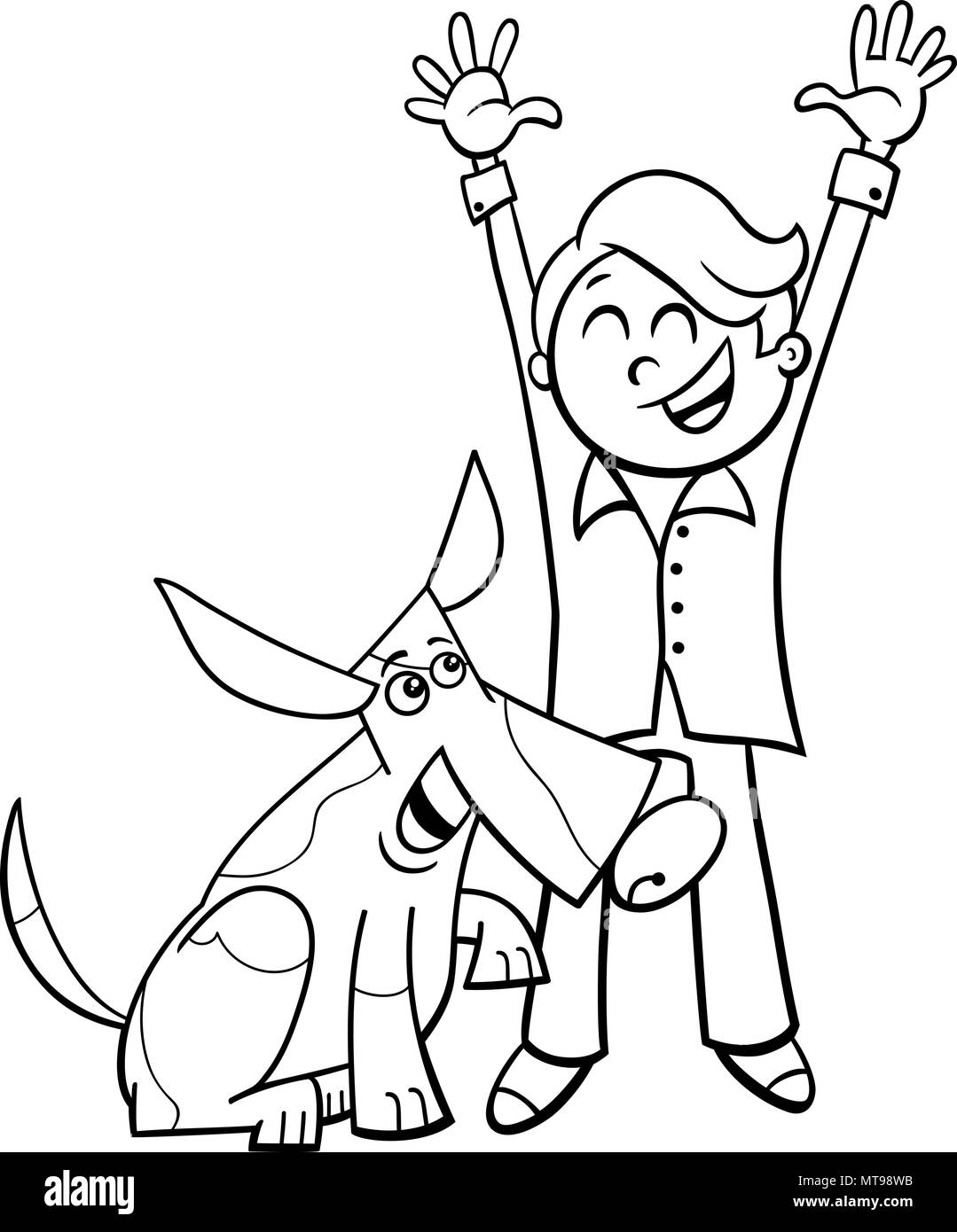 Black and White Cartoon Illustration of Little Boy with Funny Dog or ...