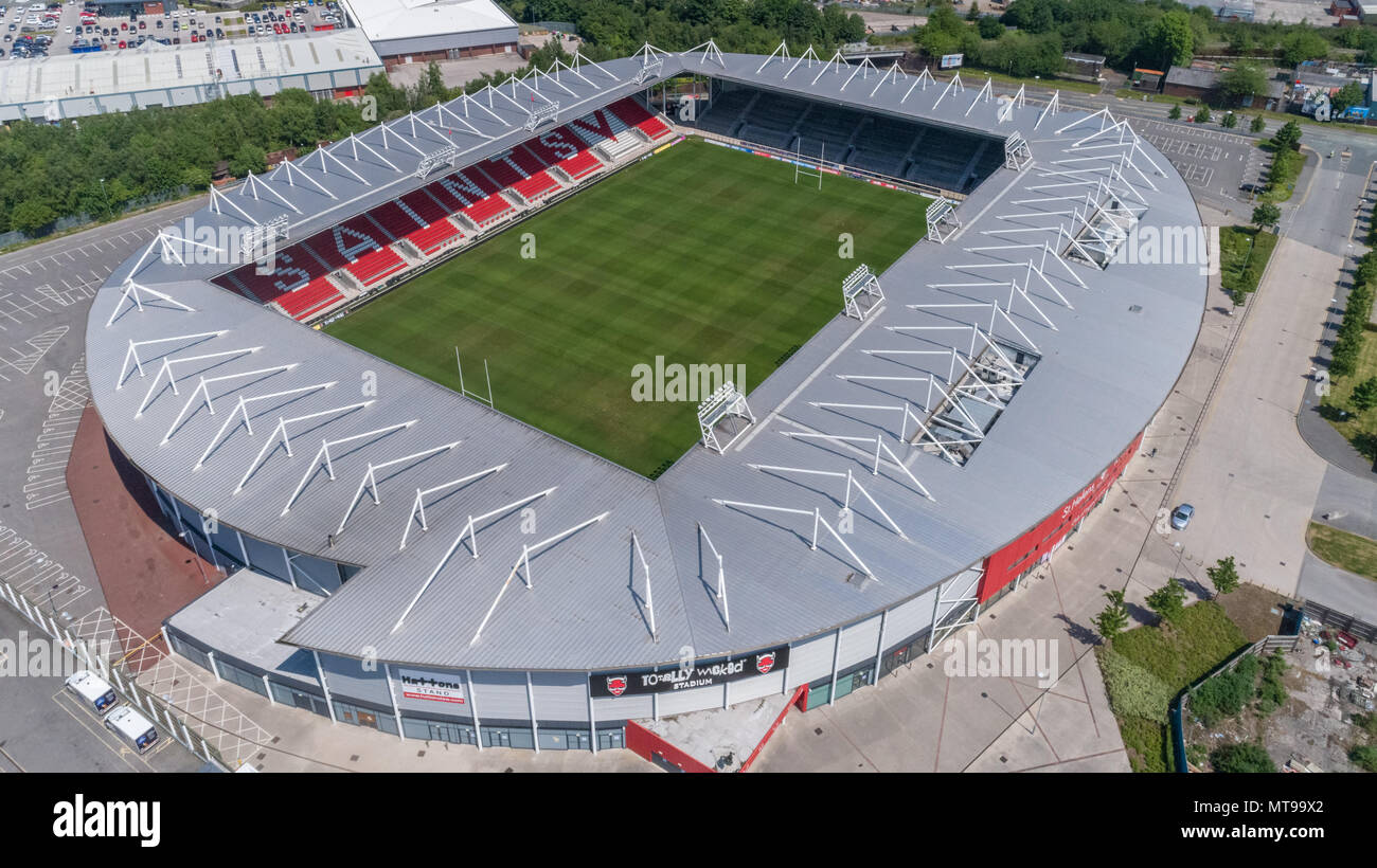 Saint (St) Helens Rugby League Football Club Ground from above.  Drone Photography, St Helens, Knowsley, Liverpool, England Uk - Stock Image
