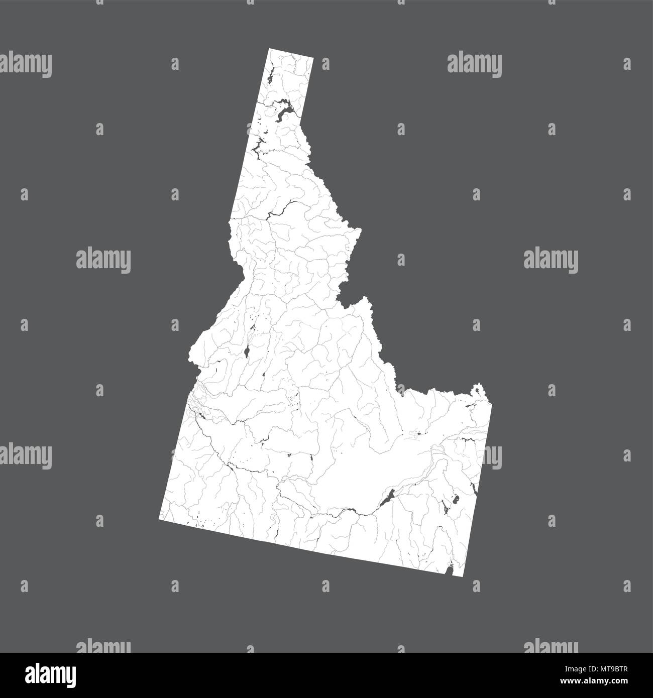 U.S. states - map of Idaho. Hand made. Rivers and lakes are shown. Please look at my other images of cartographic series - they are all very detailed  - Stock Vector
