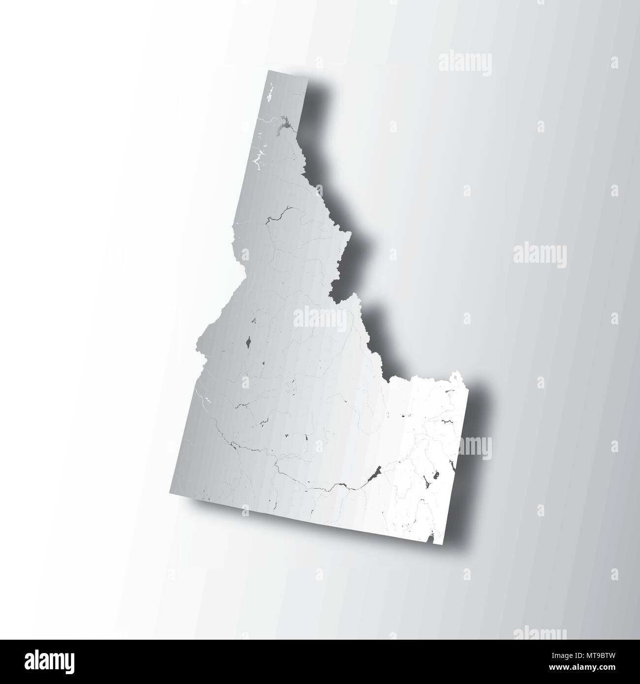 U.S. states - map of Idaho with paper cut effect. Hand made. Rivers and lakes are shown. Please look at my other images of cartographic series - they  - Stock Vector