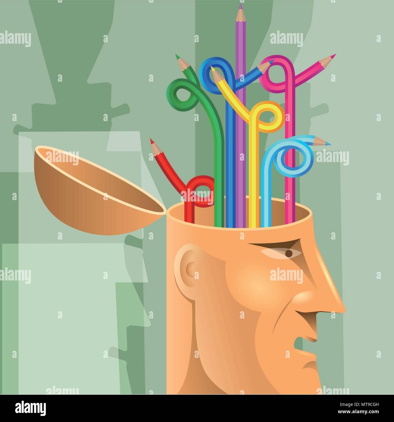 Artificial intelligence concept design, pencil in the brain. - Stock Vector