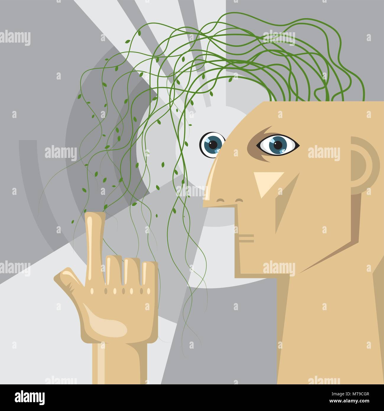 Artificial intelligence concept design, Vine plants grow in the brain. - Stock Vector