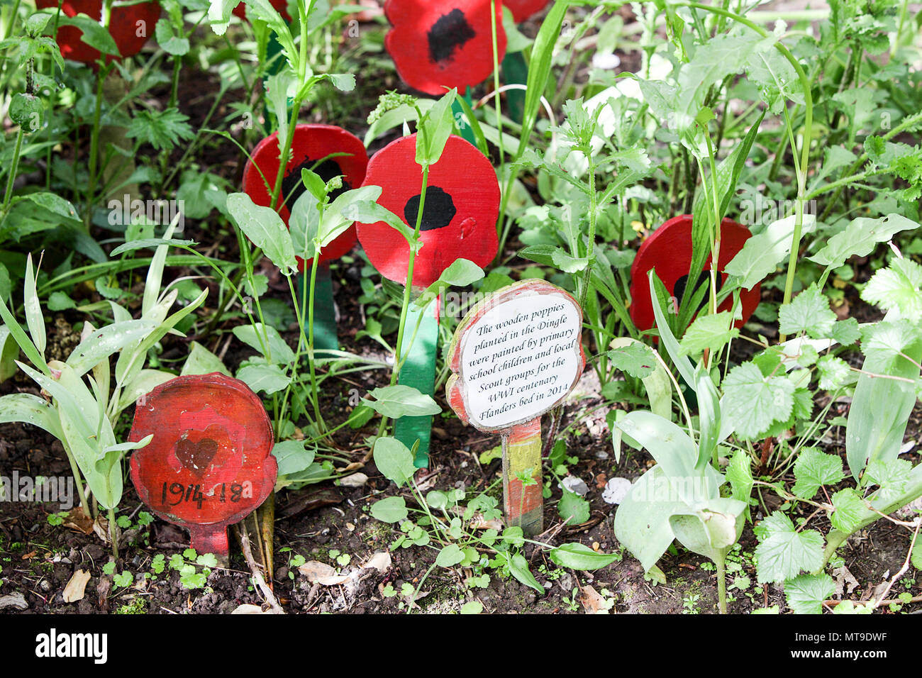 The First World War Memorial garden, situated within The Dingle, a fine garden area set in The Quarry in Shrewsbury, England. - Stock Image