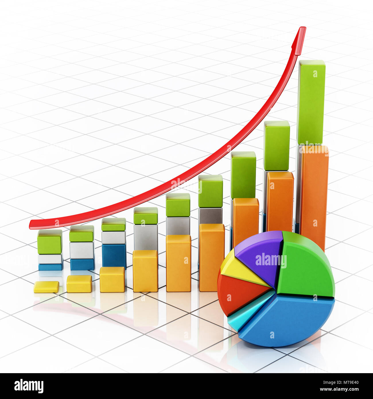 Rising sale bars and pie chart showing financial data. 3D illustration. - Stock Image