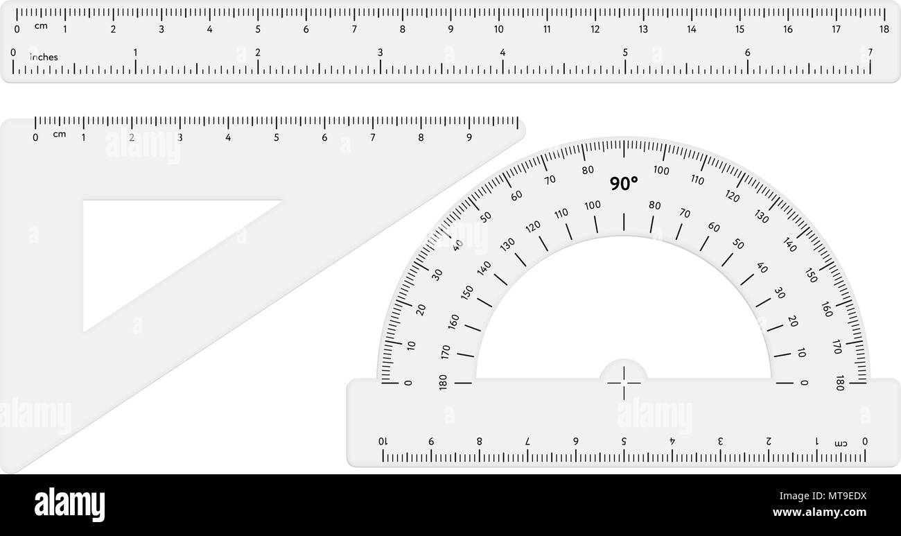 Various transparent rulers on white background - Stock Vector