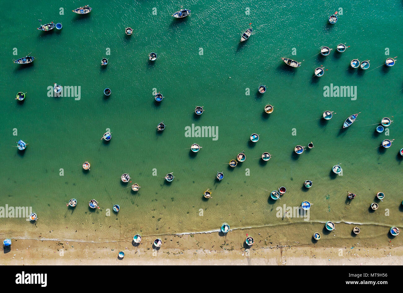 Fishing village in Mui Ne Vietnam and their unique basket boats Stock Photo