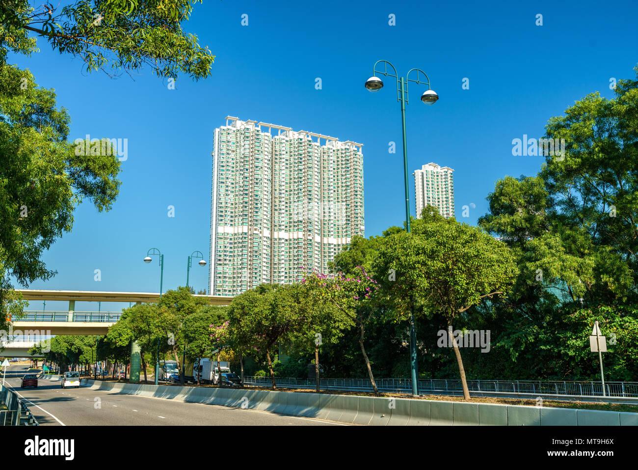 View of Tung Chung district of Hong Kong on Lantau Island - Stock Image
