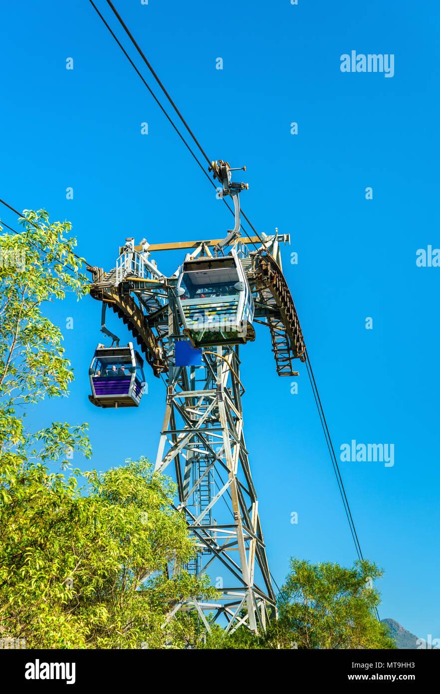 Tower of Ngong Ping 360 cable car on Lantau Island in Hong Kong - Stock Image