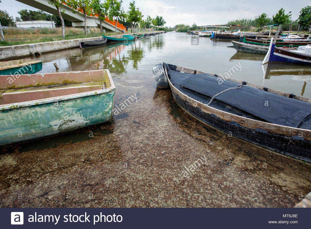 Fecal water in the port of El Saler, near Valencia - Stock Image