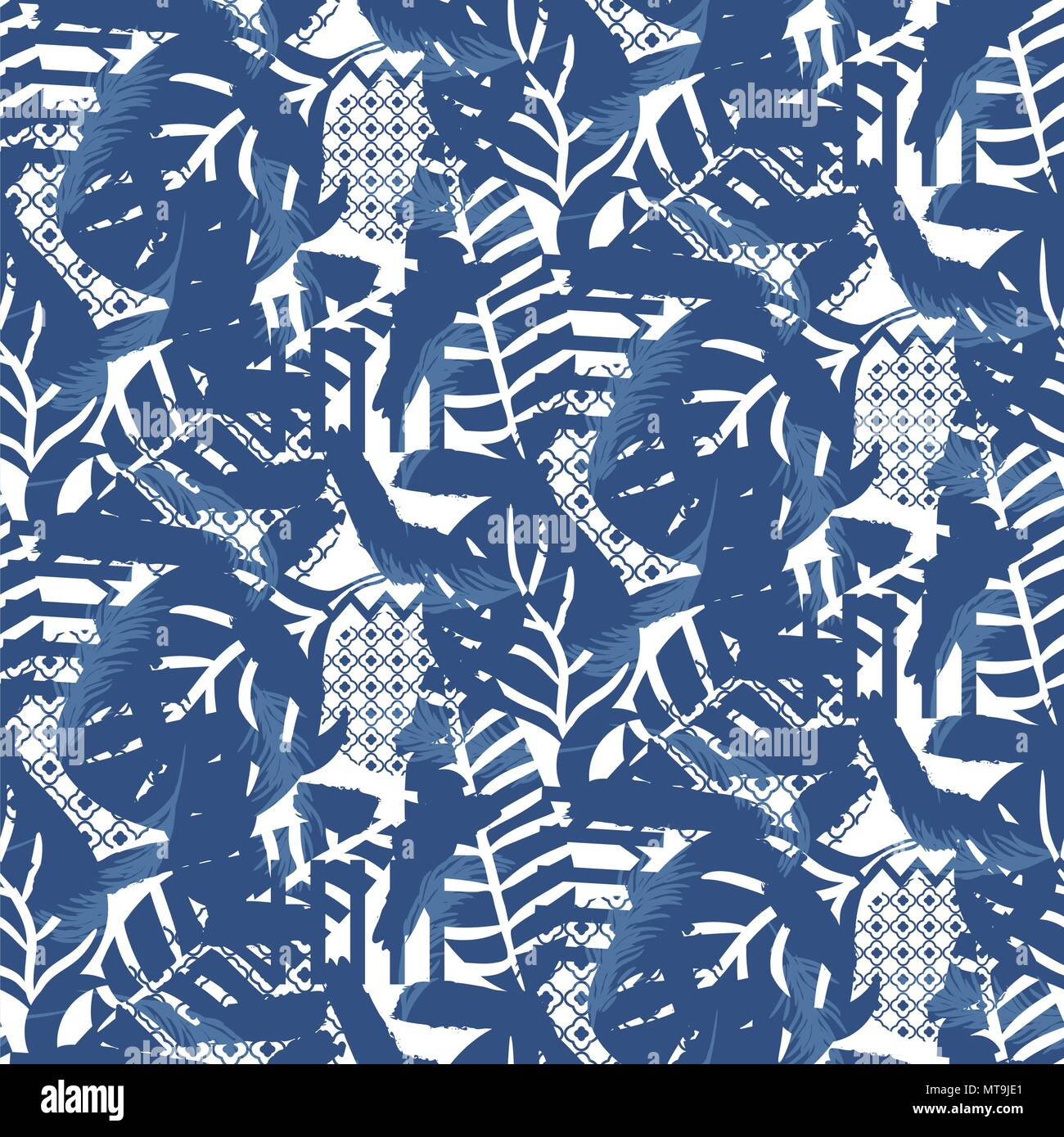 Floral motif background texture. Blue seamless pattern. - Stock Image