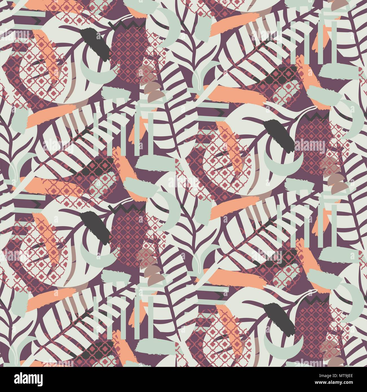 Painterly botanical background texture. Pastel toned seamless pattern. - Stock Image