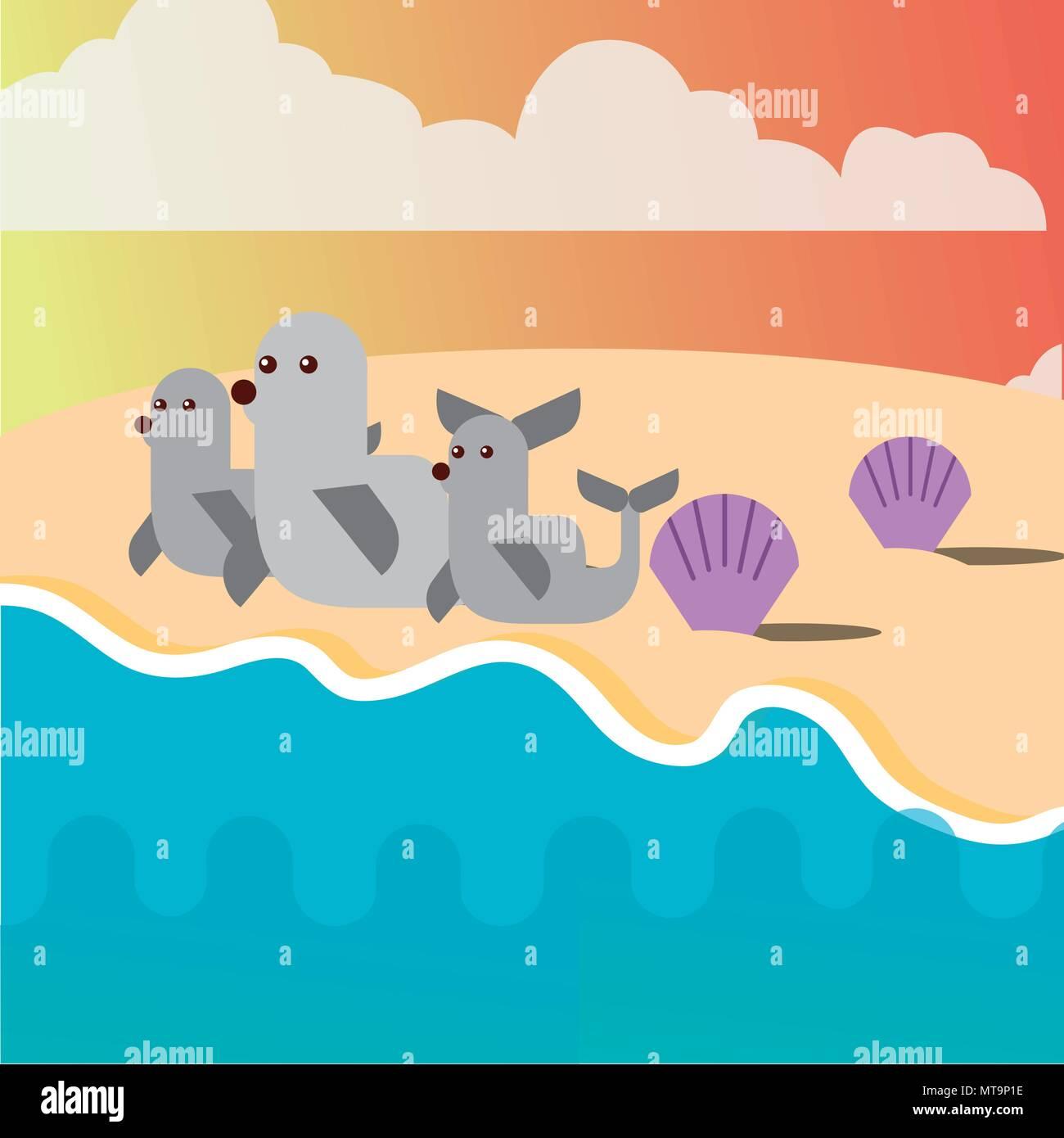 sea life cartoon - Stock Vector