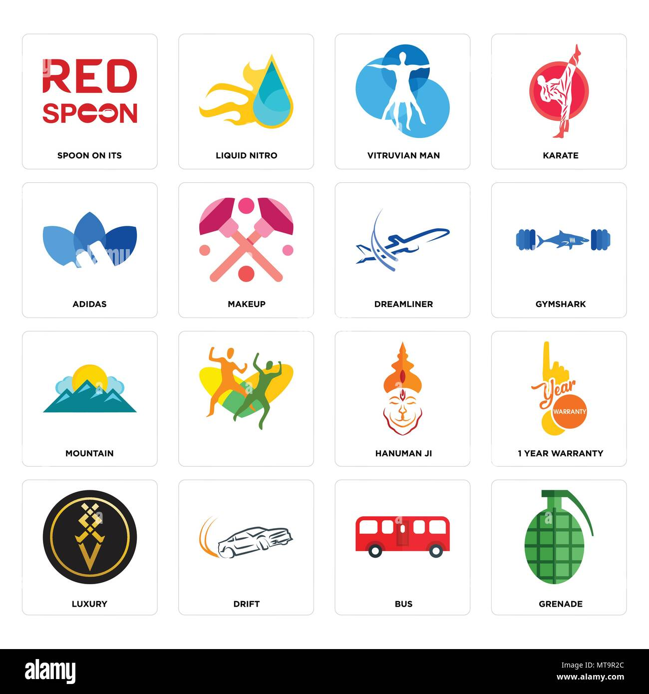 Set Of 16 simple editable icons such as grenade, bus, drift, luxury