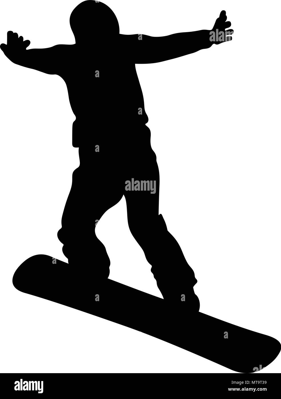 snowboard jump and flying athlete snowboarder black silhouette - Stock Image