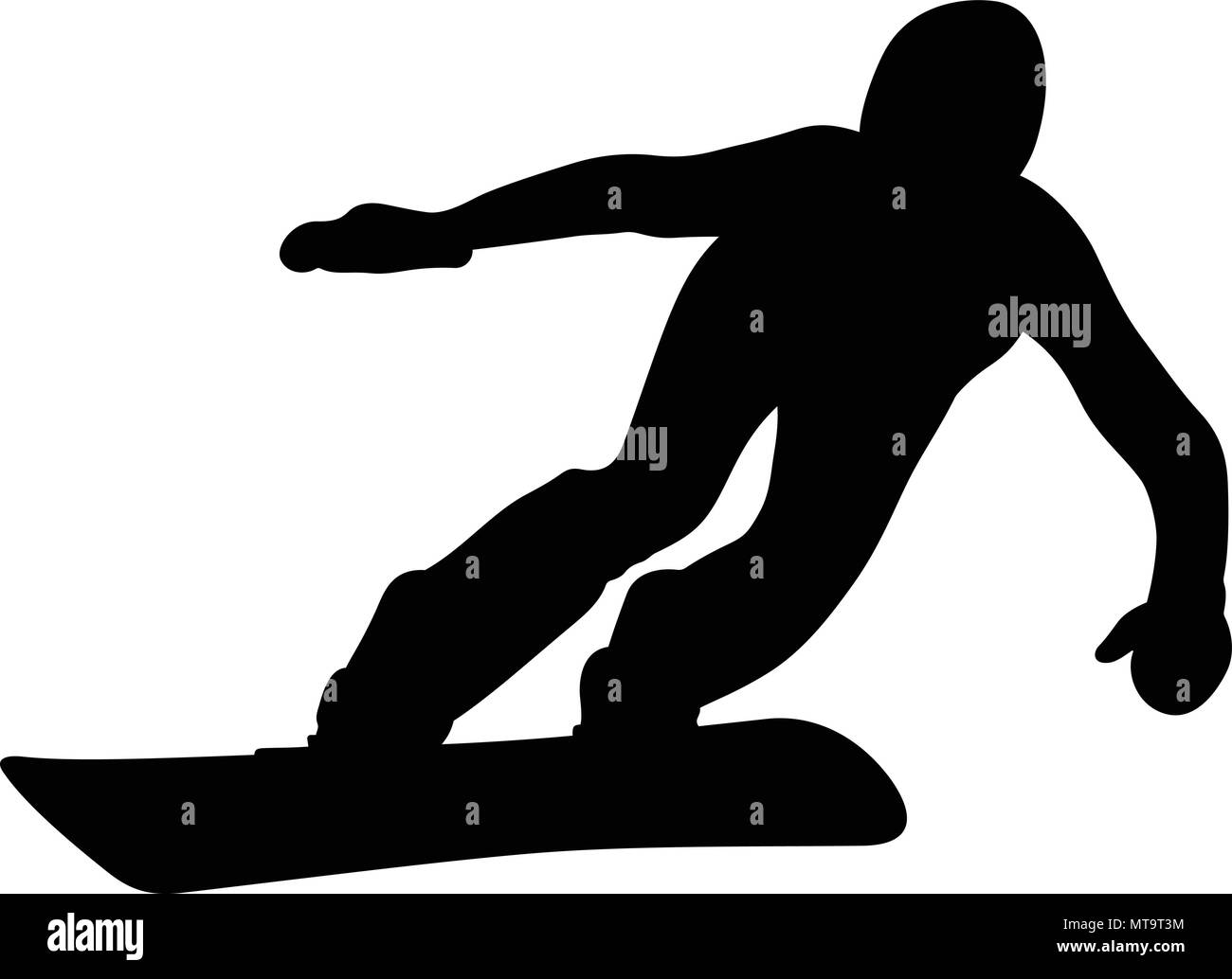 athlete snowboarder downhill snowboard competition black silhouette - Stock Image