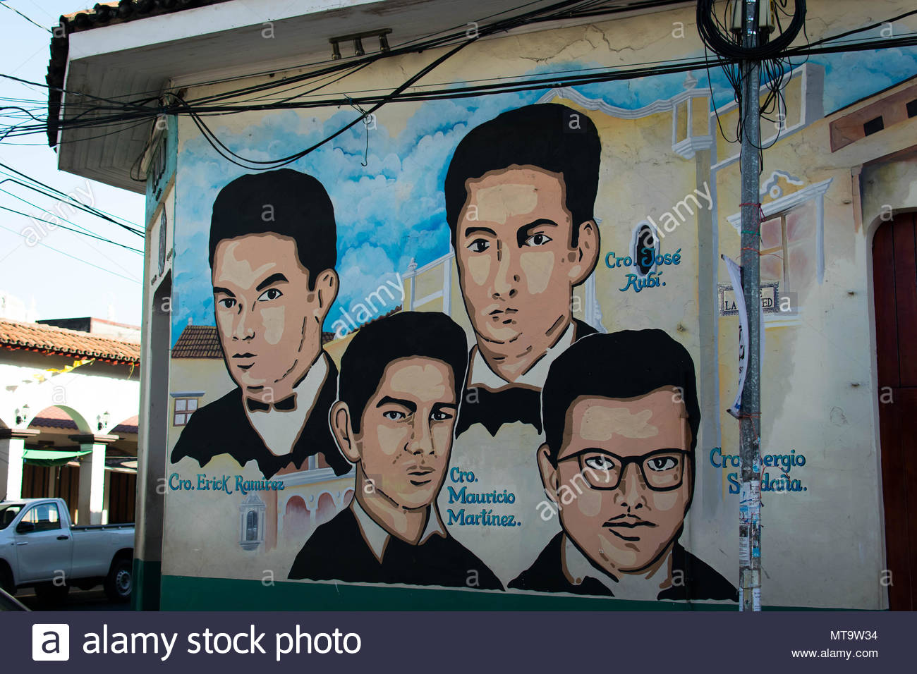 Leon, Nicaragua. February 11, 2018. A mural on a street corner depicting 4 students who were killed during peaceful protests - Stock Image