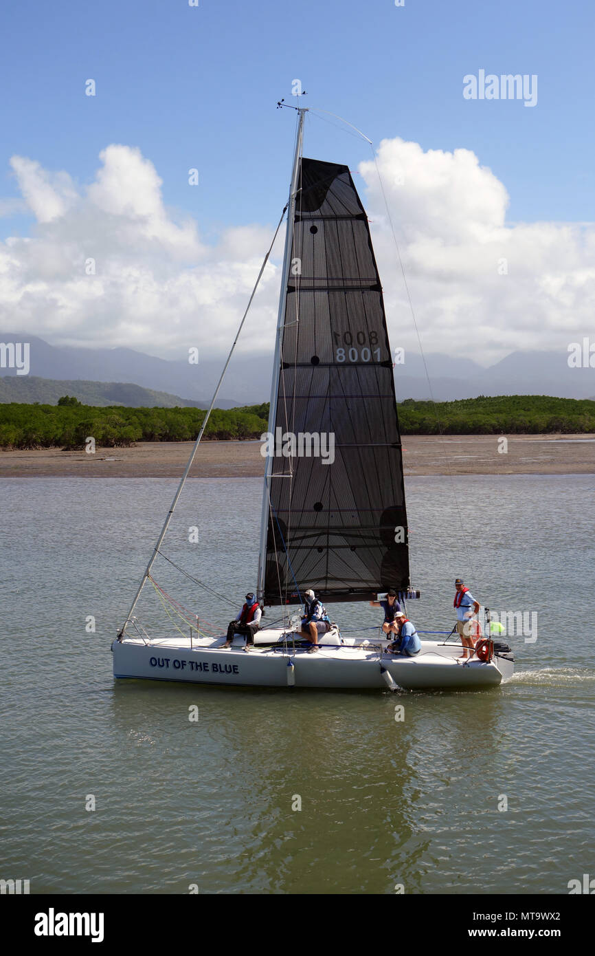 Out of the Blue, competitor in the Port Douglas Race Week, entering Dickson Inlet, Port Douglas, Queensland, Australia. No MR or PR - Stock Image