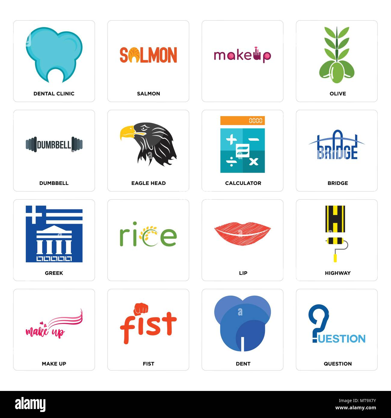 Set Of 16 simple editable icons such as question, dent, fist, make up, highway, dental clinic, dumbbell, greek, calculator can be used for mobile, web - Stock Image