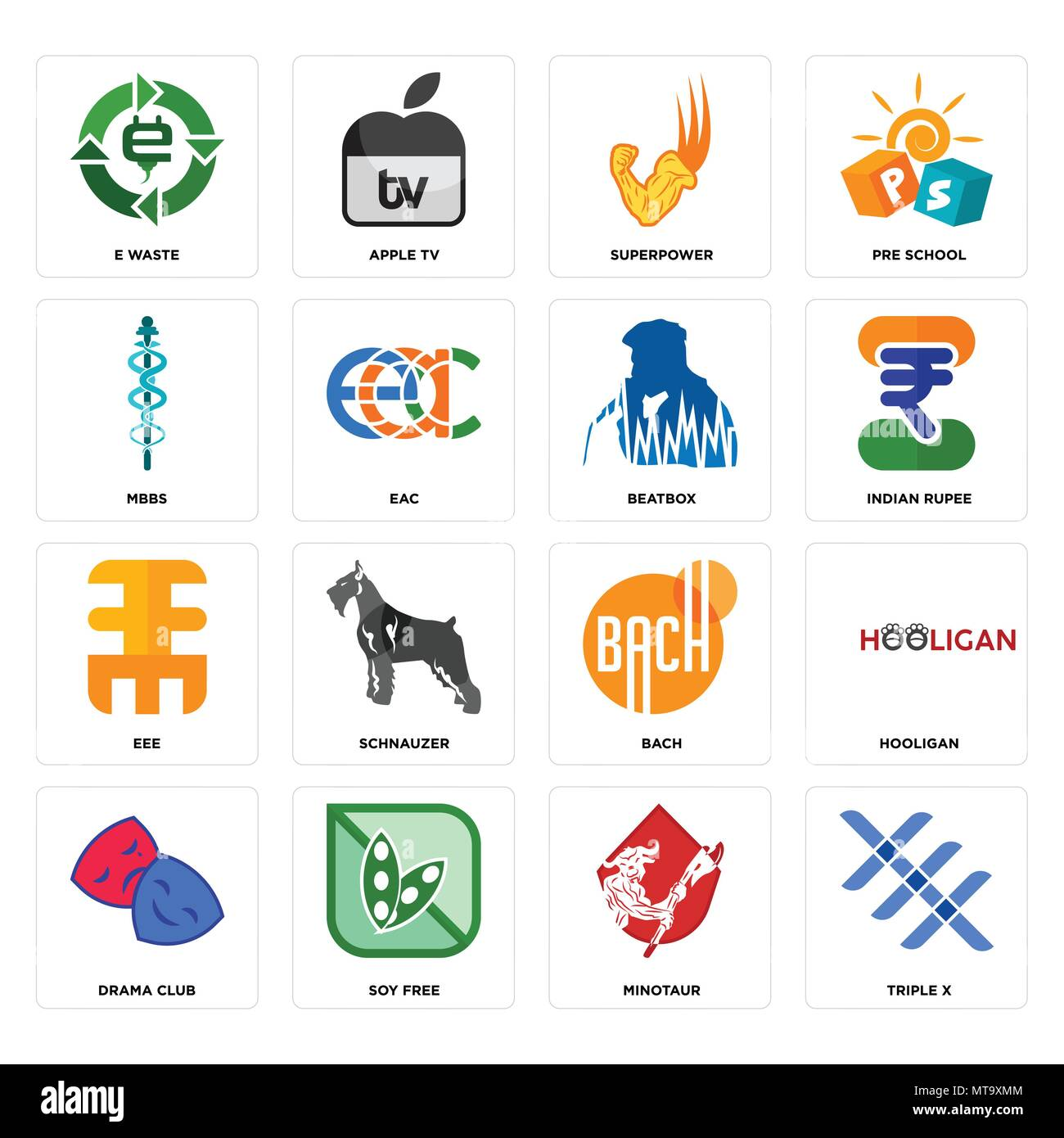 Set Of 16 simple editable icons such as triple x, minotaur, soy free, drama club, hooligan, e waste, mbbs, eee, beatbox can be used for mobile, web UI - Stock Image
