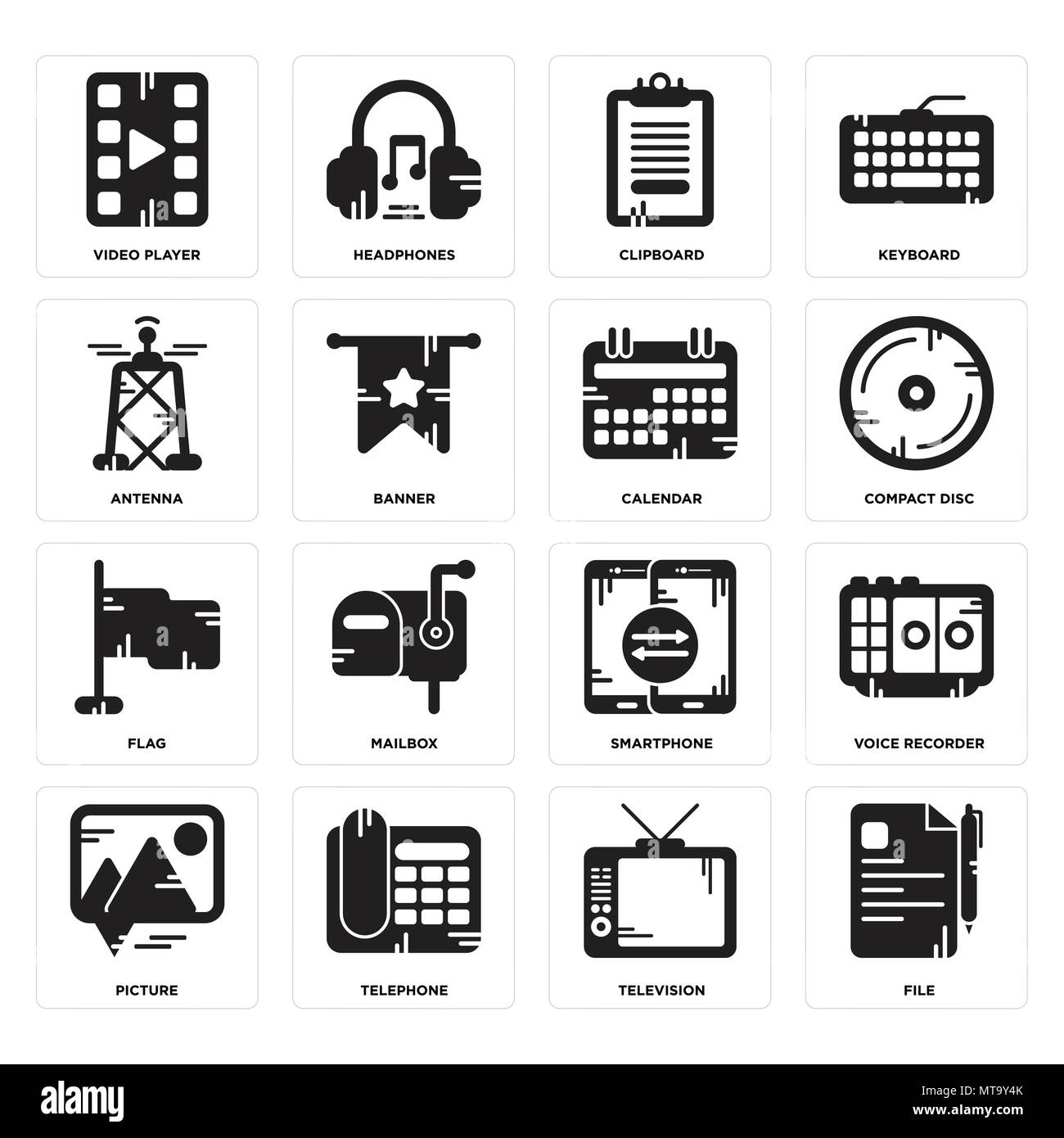 Set Of 16 simple editable icons such as File, Television