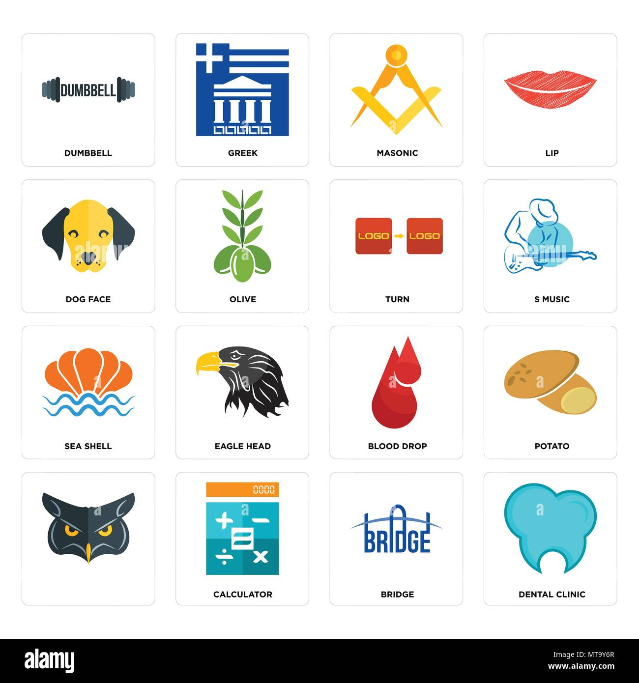 Set Of 16 simple editable icons such as dental clinic, bridge, calculator, , potato, dumbbell, dog face, sea shell, turn can be used for mobile, web U - Stock Image