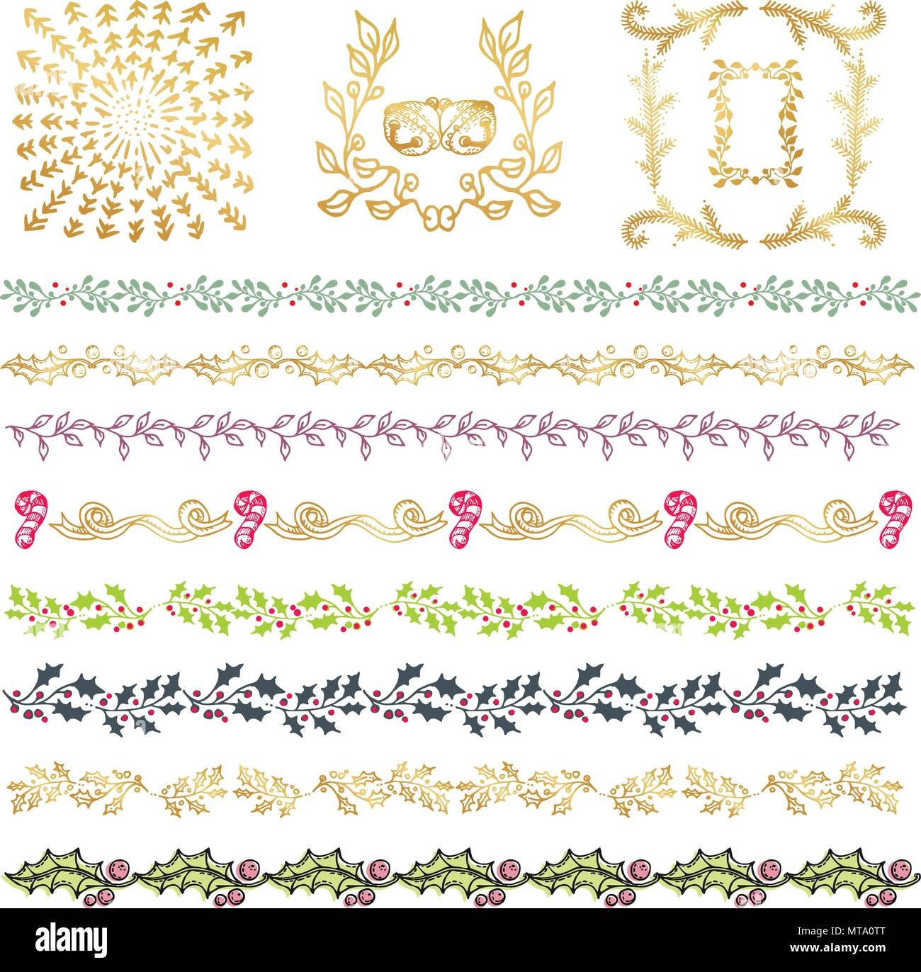 Collection Of Colorful Hand Drawn Decorative Doodle Vintage Borders