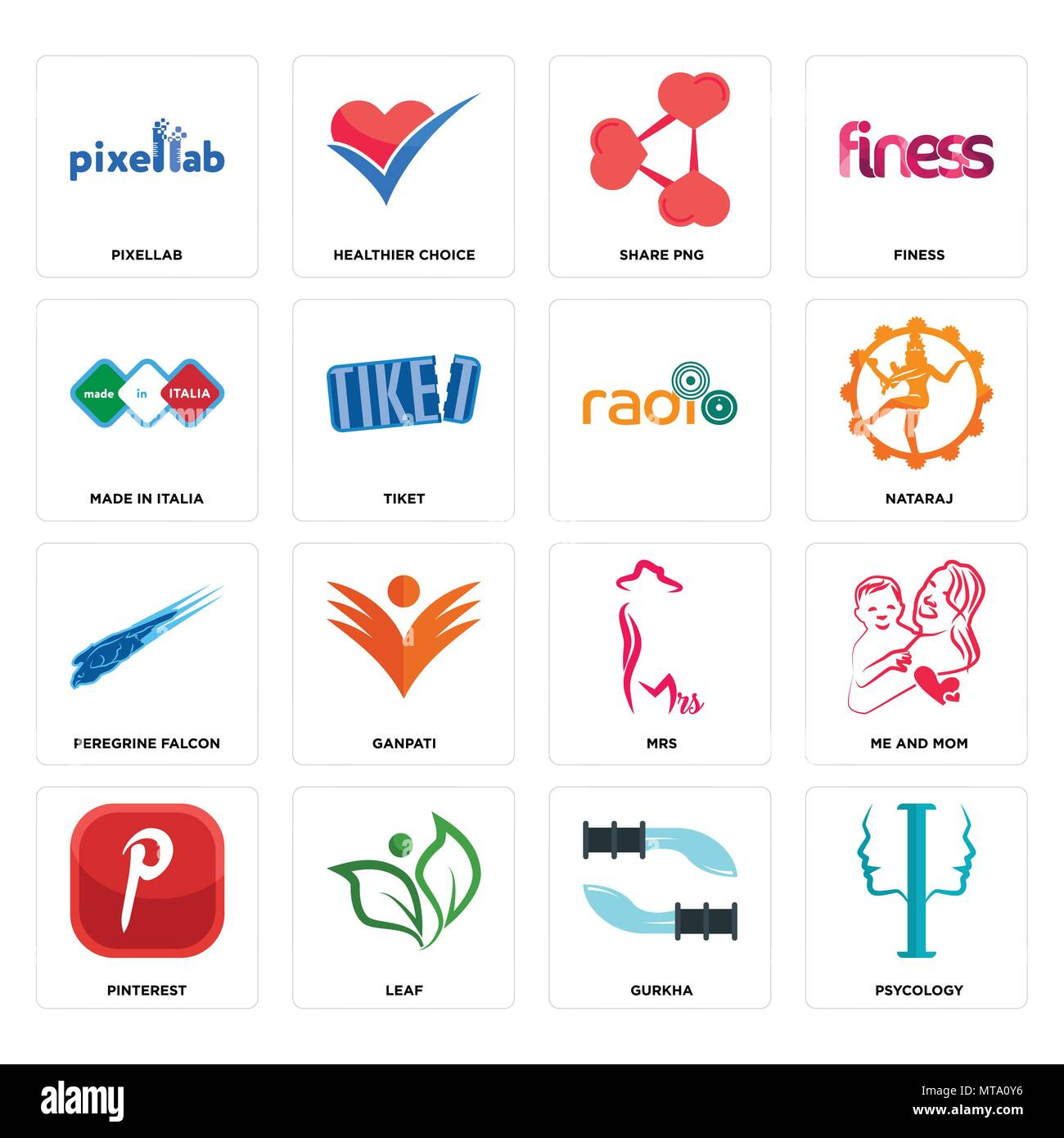 Set Of 16 simple editable icons such as psycology, gurkha