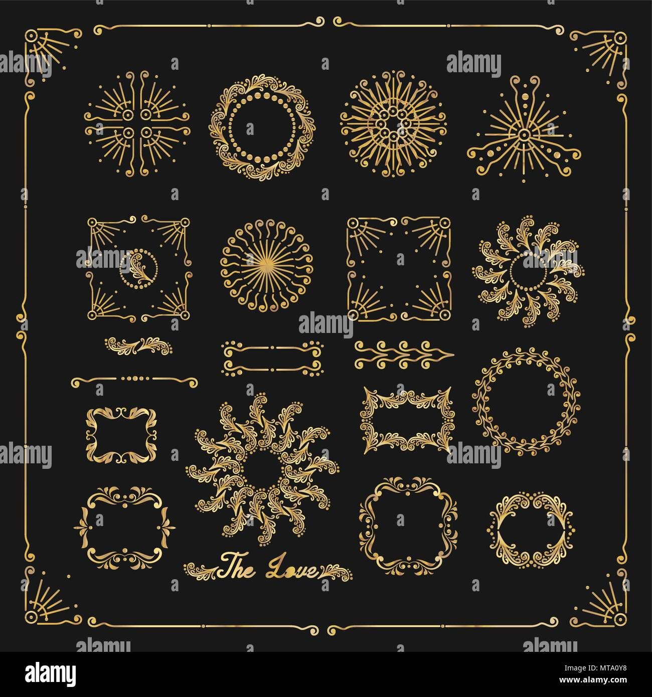 vector set of decorative elements border frame with floral