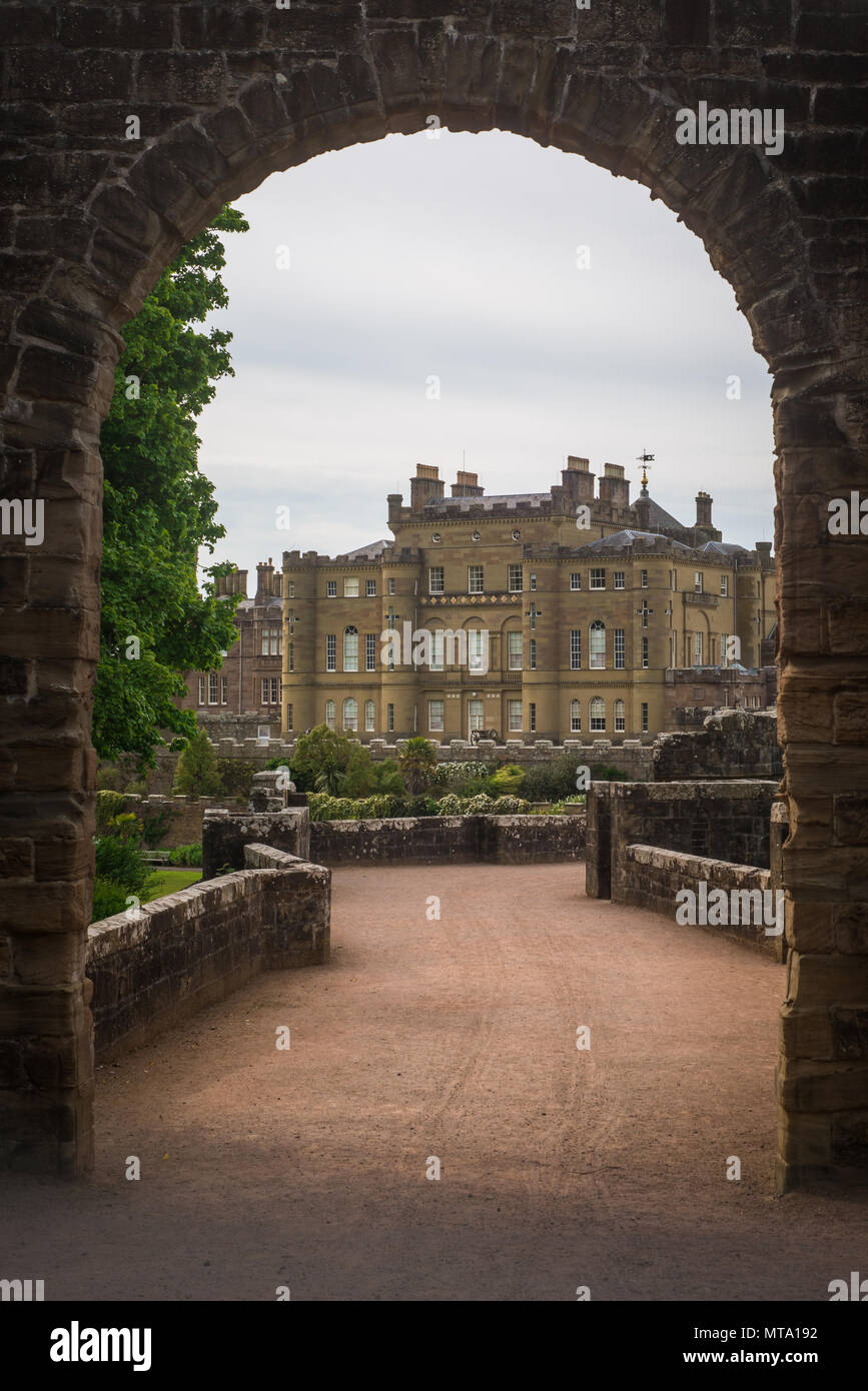 View of Scottish Castle Through Archway - Stock Image