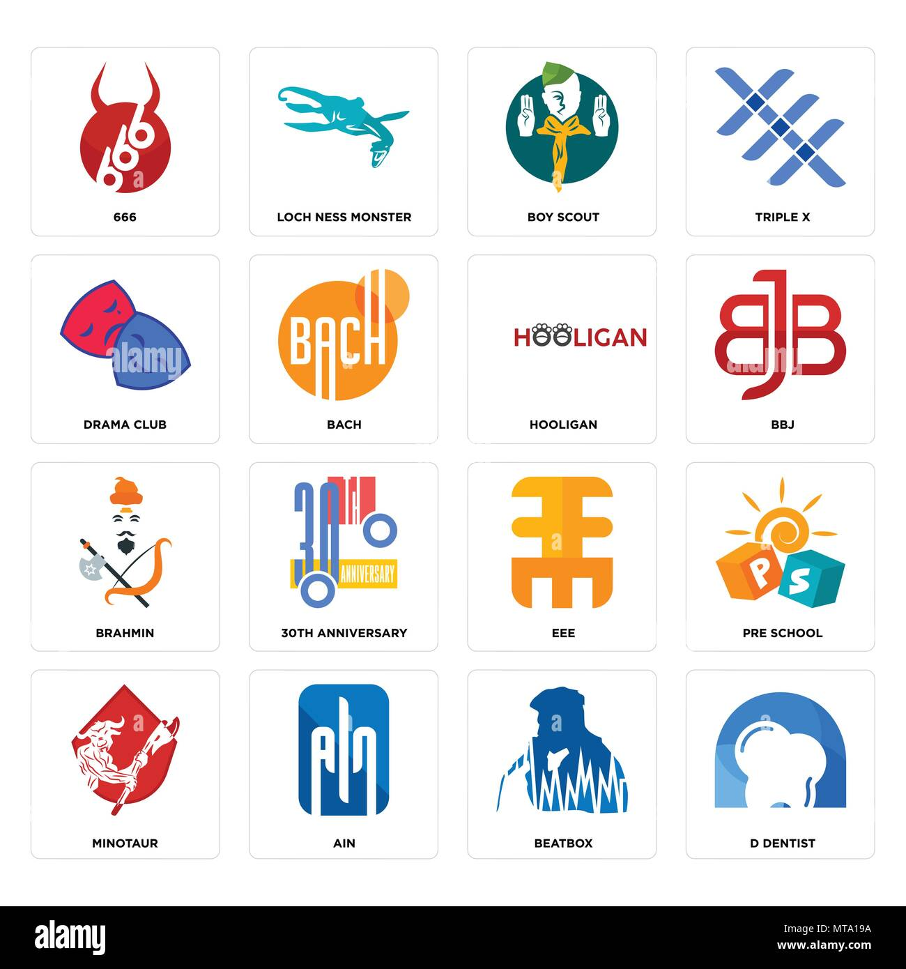Set Of 16 simple editable icons such as d dentist, beatbox, ain, minotaur, pre school, 666, drama club, brahmin, hooligan can be used for mobile, web  - Stock Vector