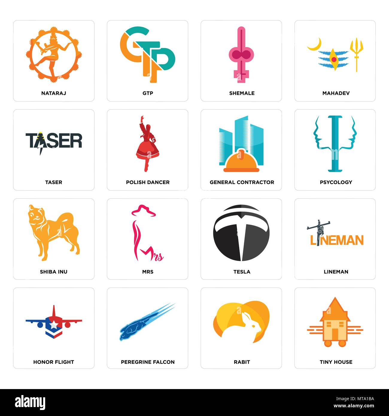Set Of 16 simple editable icons such as tiny house, rabit, peregrine falcon, honor flight, lineman, nataraj, taser, shiba inu, general contractor can  - Stock Image