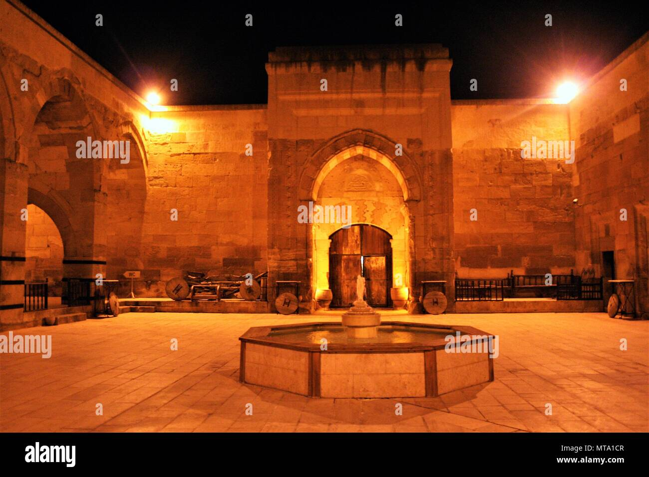 caravansary of Sarihan at night - Stock Image