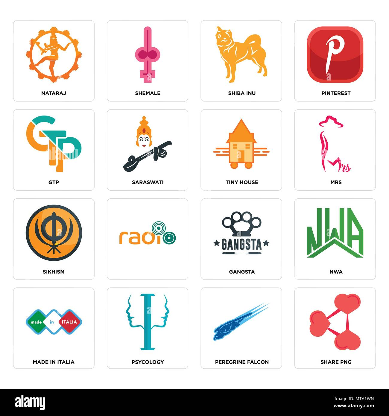 Set Of 16 simple editable icons such as share png, peregrine falcon, psycology, made in italia, nwa, nataraj, gtp, sikhism, tiny house can be used for - Stock Image