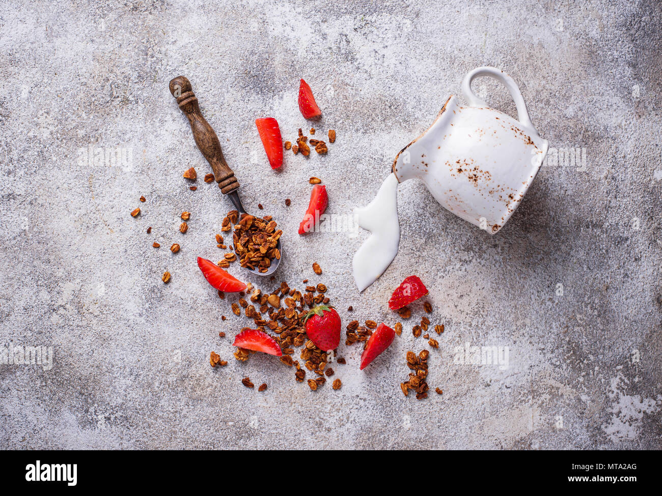 Granola and strawberry, healthy breakfast  - Stock Image