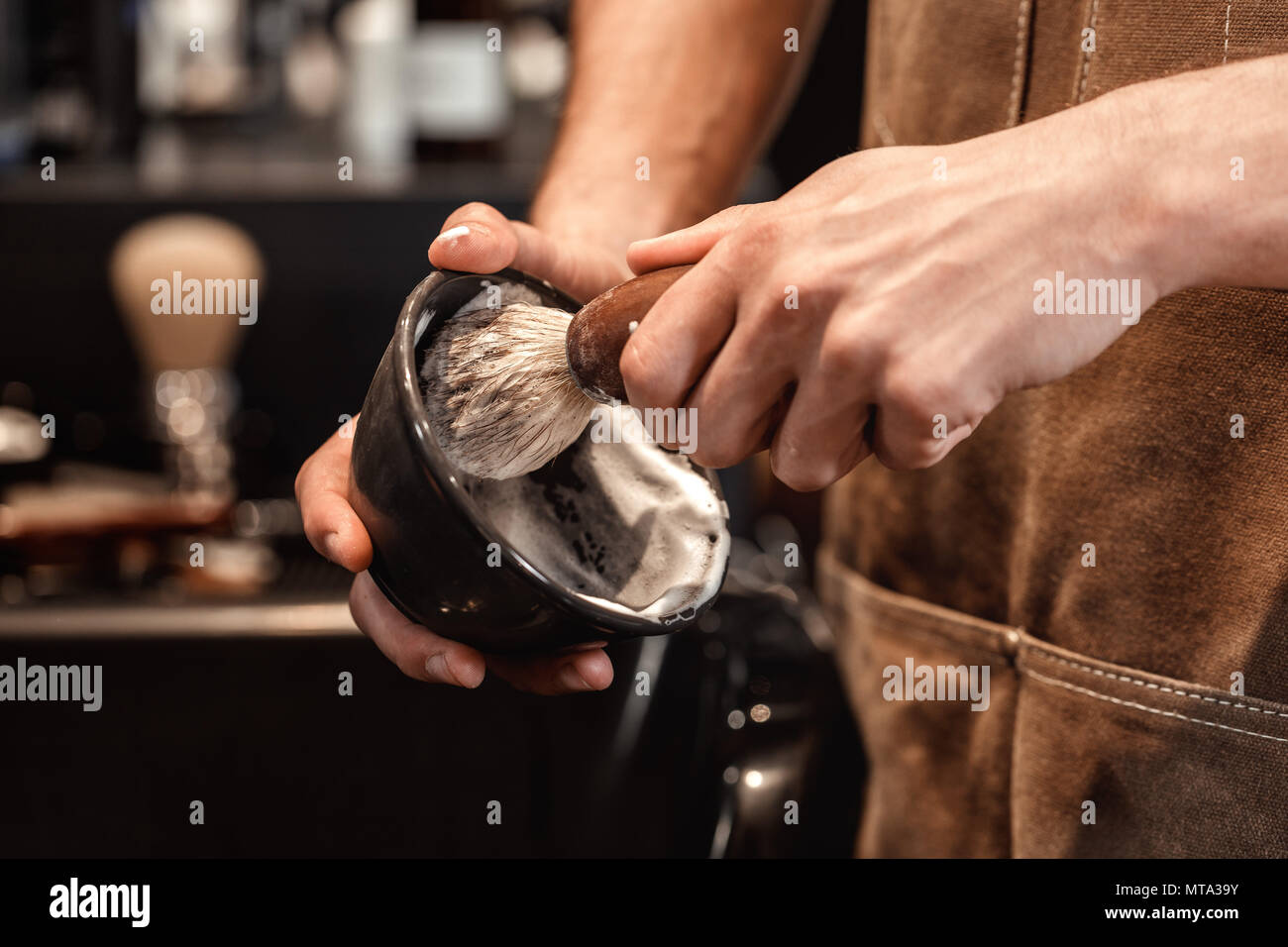 brush for shaving beard and bowl. - Stock Image