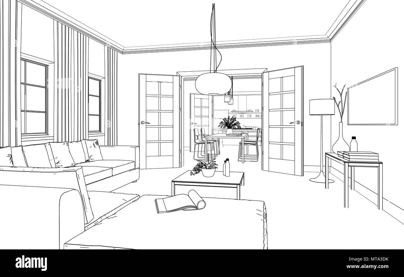Interior Design Living Room custom Drawing Stock Photo - Alamy